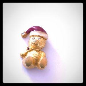 Swarovski Eyes Christmas Teddy Bear Pin